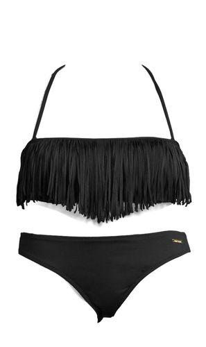#BRUNO #BANANI #Damen #Bandeau #Bikini #schwarz Im angesagten Gipsy-Stil mit coolen Fransen. Top mit herausnehmbaren Cups und abnehmbaren Trägern. Seitliche Stäbchen garantieren einen perfekten Halt. Im Nacken zu binden und im Rücken zu schließen. Bikini gefüttert. Aus 92% Polyamid, 8% Elasthan. Futter: 100% Polyamid.