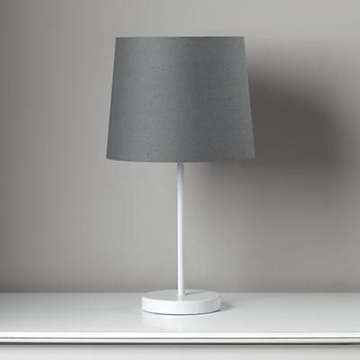 light years grey table shade and white base
