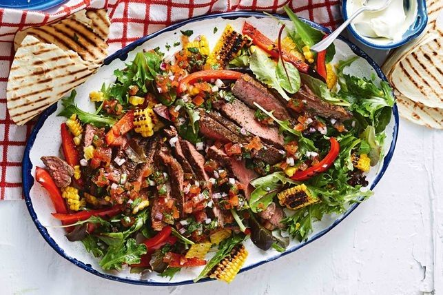 Charred Mexican beef salad with fresh tomato and lime salsa