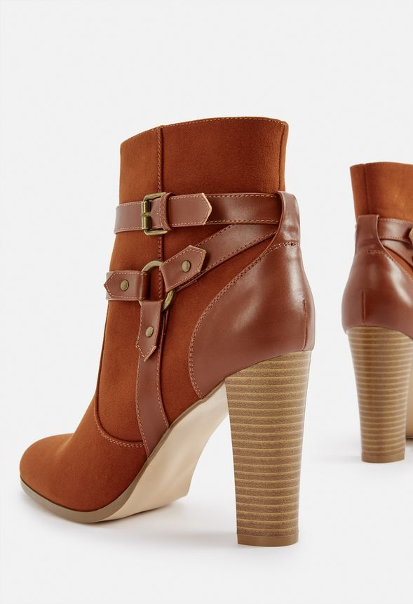 051e92a39 Lissa Harness Heeled Bootie in Rust - Get great deals at JustFab ...