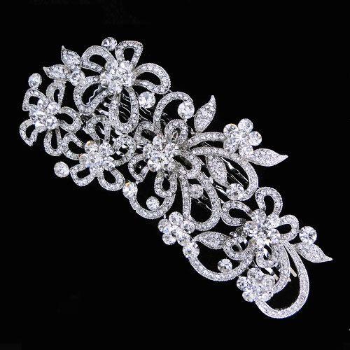 Vintage Inspired Swarovski Crystal Wedding Hair Comb,Bridal Flower Jewelry,Clear Rhinestone silver Tiara-108828976