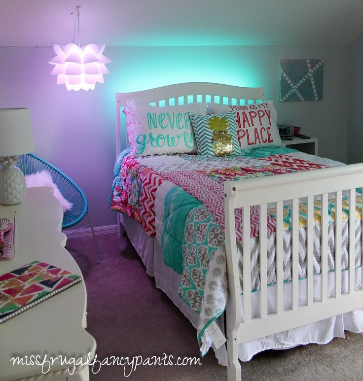colorful tween bedroom lighting