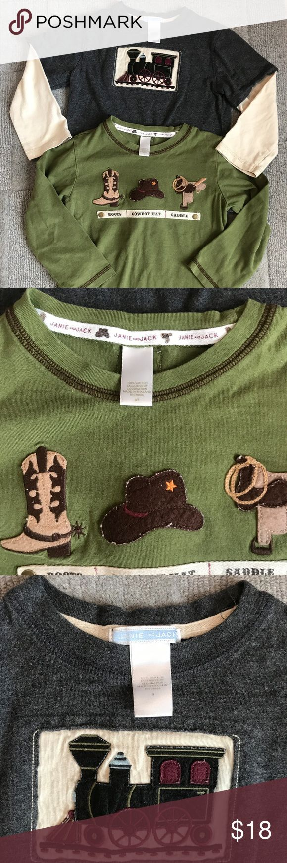 Janie and Jack cowboy and train shirts 2 Janie and Jack long sleeve shirts. So cute!! One with a train and mock short sleeves. The other with the cutest cowboy boot, hat and saddle. No stains or holes, EUC. Priced to sell. Bundle to save even more! Janie and Jack Shirts & Tops Tees - Long Sleeve