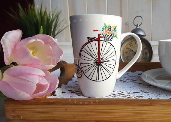 Vélo rétro vintage rouge panier fleurs coloré tasse mug peint