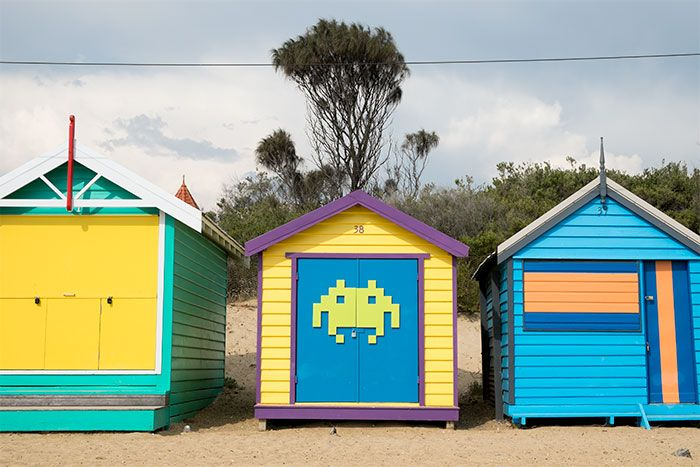 Space Invader Brighton beach