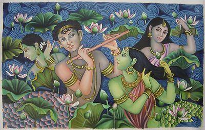 Hindu Art   RADHA HANDMADE Modern Oil Painting Hindu Religious God Goddess Art ...