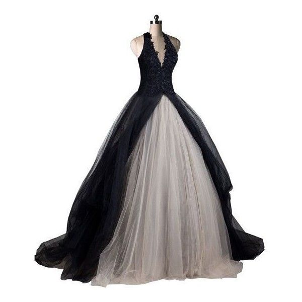 Items similar to Gothic Wedding Dress Black Wedding Dresses Black... ❤ liked on Polyvore featuring dresses, wedding dresses and gowns