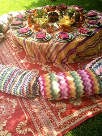 Margherita Missoni's wedding table setting: Table Settings, Wedding Ideas, Weddings, Missoni Wedding, Party Idea, Missoni S Wedding, Margherita Missoni S, Picnic