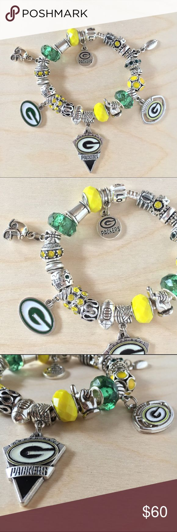 Green Bay Packers European Charm Bracelet NFL This listing is for 1 Bracelet completely filled w/charm beads as shown in the pictures. These beads are NOT sterling silver. Those types of beads cost at least $40.00 each. Our beads are Mostly made of glass and silver plated over zinc alloy and they might tarnish which is why we ask you 2 please make sure 2 not wash your hands or shower with your bracelet. No refunds or returns or exchanges will be given if they tarnish. Jewelry Bracelets