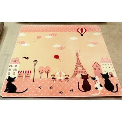 130*185cm Tapis Salon carpet tapis chambre enfant bébé ramper Shaggy Moquette Anti-dérapage Absorbant La Tour Eiffel Chat Rose - Achat / Vente tapis - Cdiscount