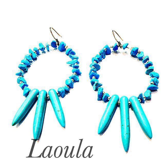 Boucles d'oreilles en argent, turquoise et howlite 269516