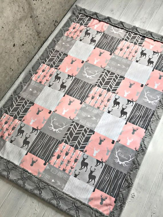 ***Options*** Please read carefully!! Woodland coral faux quilt with gray lattice backing. Minky blankets are minky on both sides. 2 week turnaround time. Minky Baby blanket - Measures approximately 28x38 inches. Great for strollers, car seats, swaddling etc Minky Toddler/Crib -