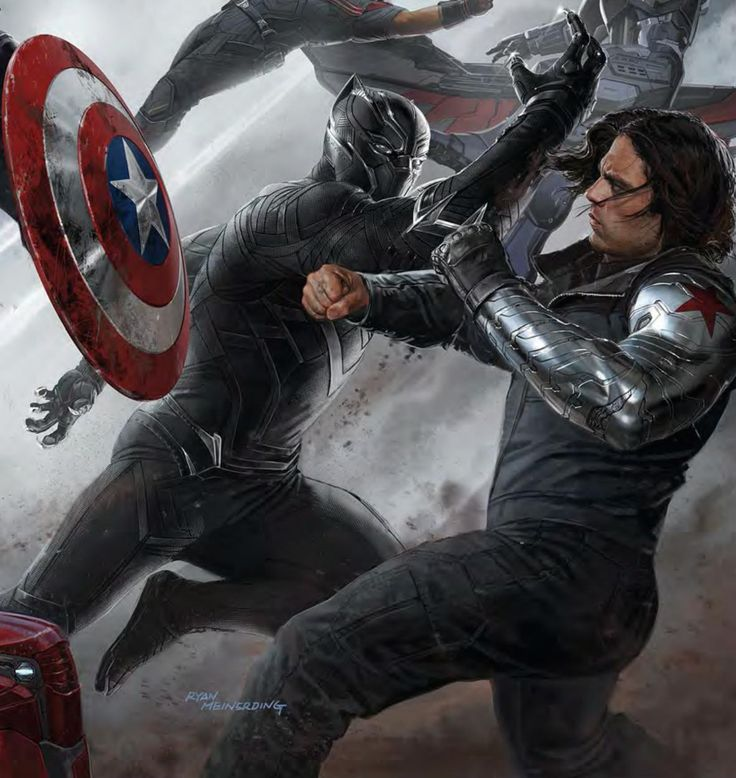 Captain America Civil War - Winter Soldier and Black Panther