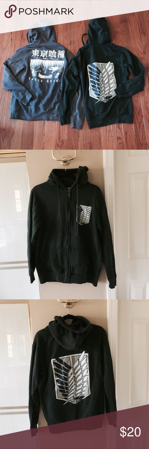 Anime zip up hoodies lot of 2 Selling two anime zip up hoodies: 1 gray Tokyo ghoul hoodie (S). 1 dark green attack on titan hoodie (M). Different sizes, but both can fit either S or M in my opinion. All in good used condition. Yours for cheap! Make me an offer :) Hot Topic Sweaters
