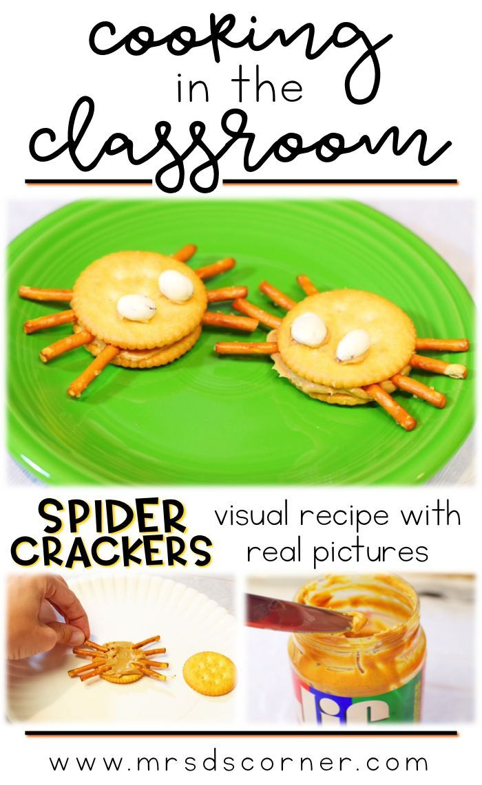 Spider crackers recipe for kids - visual recipes for cooking in the classroom, using real pictures. Spider crackers visual recipes for students with special needs. | https://lomejordelaweb.es/  Pinterest ^^ | https://pinterest.com/Ilovecocinar/