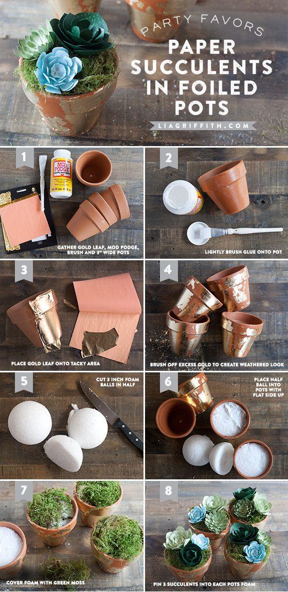 DIY Paper Succulents in Foiled Pots Party Favor Tutorial