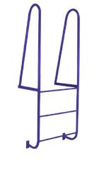 """Series D one-piece welded assemblies that provide safe access to docks and mezzanines. Walk-thru models have 42"""" high handrails. Side step models have step rungs plus 4 additional hand rungs. FEATURES: Constructed of 1"""" schedule 40 steel pipe with 3/4"""" non-slip solid round rungs. 18"""" wide steps on side step models and 24"""" on walk-thru models, spaced on 12"""" centers. Walk-thru models have flat supports for easy mounting. Gray powder coat is standard paint finish."""