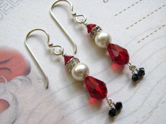 Santa Claus Earrings, Holiday Earrings, Swarovski Earring, Santa Earrings, Christmas Earrings, Red Earring, Pearl Earring, Christmas Jewelry