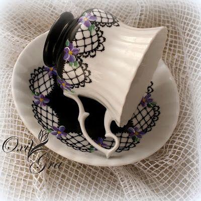 #OxiGra #porcelain #hand #painted #cup #violets #porcelana #recznie #malowana #filizanka #fiolki