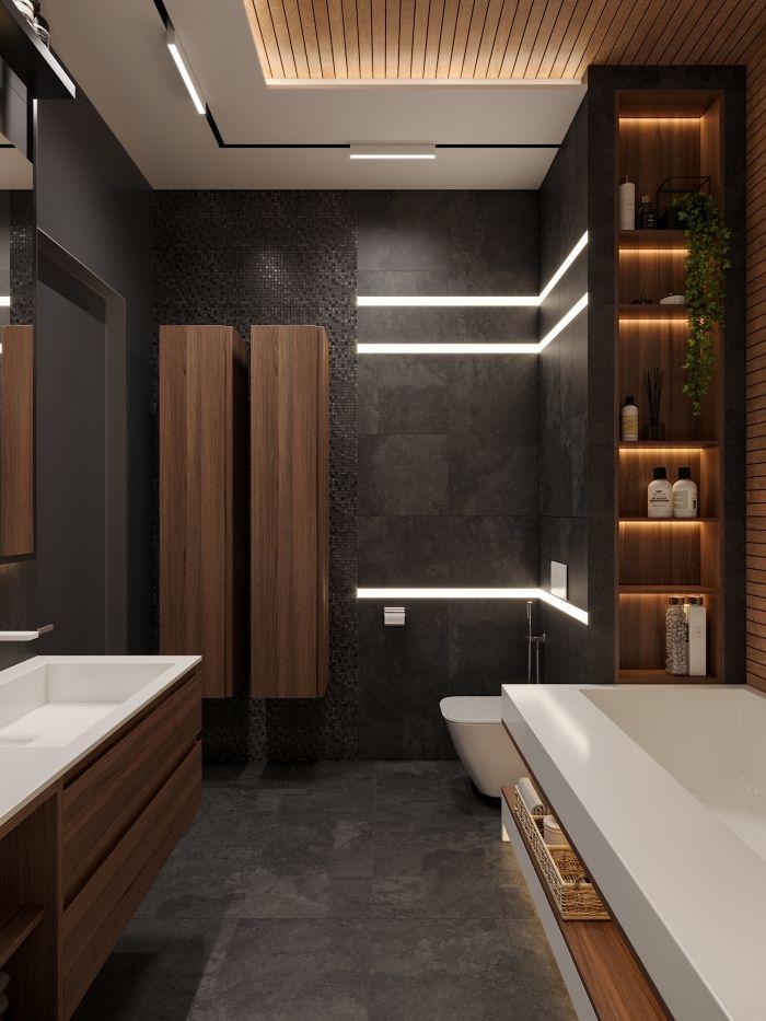 1001 Exemples De La Salle De Bain En Noir Et Bois Contemporaine Idee Salle De Bain Interieur Salle De Bain Salle De Bain Design