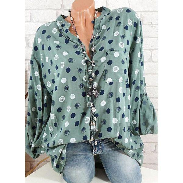 Women Button Down Blouse Casual Loose Polka Dot Roll Up Sleeve Tunic Shirt S-5XL