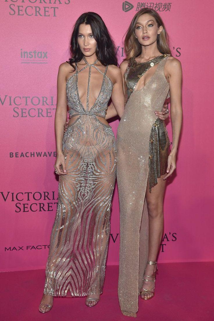 Gigi & Bella Hadid in Versace & Julien McDonald - Red Carpet, Victoria's Secret Fashion Show 2016