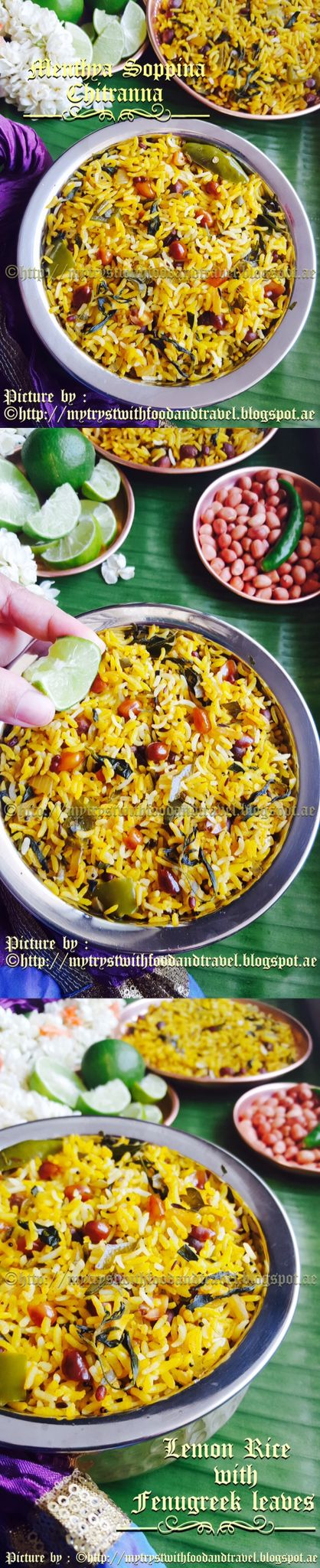 Menthya Soppina Chitranna or Lemon Rice with fresh Fenugreek Leaves is another dish which I will make as a part of the Ugadi celebrations. This is a very simple, one pot, rice dish which gets its sunshine golden colour from tumeric. Made in very little time the wonderful crunch from the peanuts and lentils with an added aroma from the fresh fenugreek leaves used, makes this a very tasty dish. Recipe at…