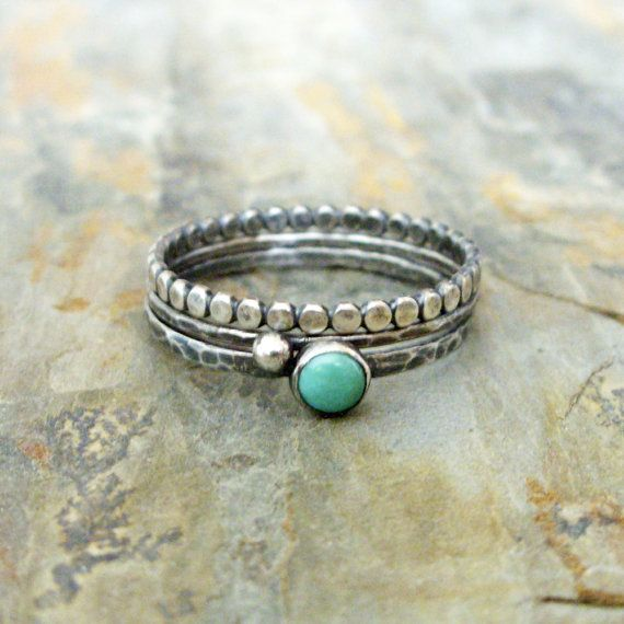 Turquoise Stacking Rings Set in Antiqued Sterling Silver Featuring Kingman, Arizona Turquoise - 3 Rustic Stacking Bands  This simple stacking set