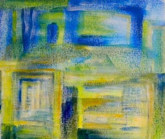 Avond over Javea | acryl op papier op mdf | ca 61 x 53 cm | c Irka Stachiw  #art #painting #landscape #irkastachiw