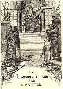 Couverture de l'Édition populaire de la Chanson de Roland (1881), illustrée par Luc-Olivier Merson.