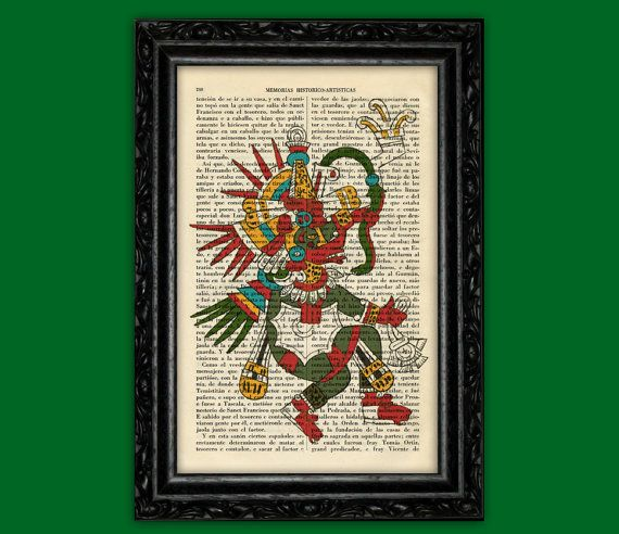 Mayan Kukulcan Art Print - Mexican God Traditional Poster Book Art Dorm Room Print Gift Wall Poster Dictionary Antique Book Page Encyclopedi
