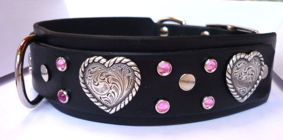 Leather Dog Collar Girl Dog Collar Wide Heart by KinCollars