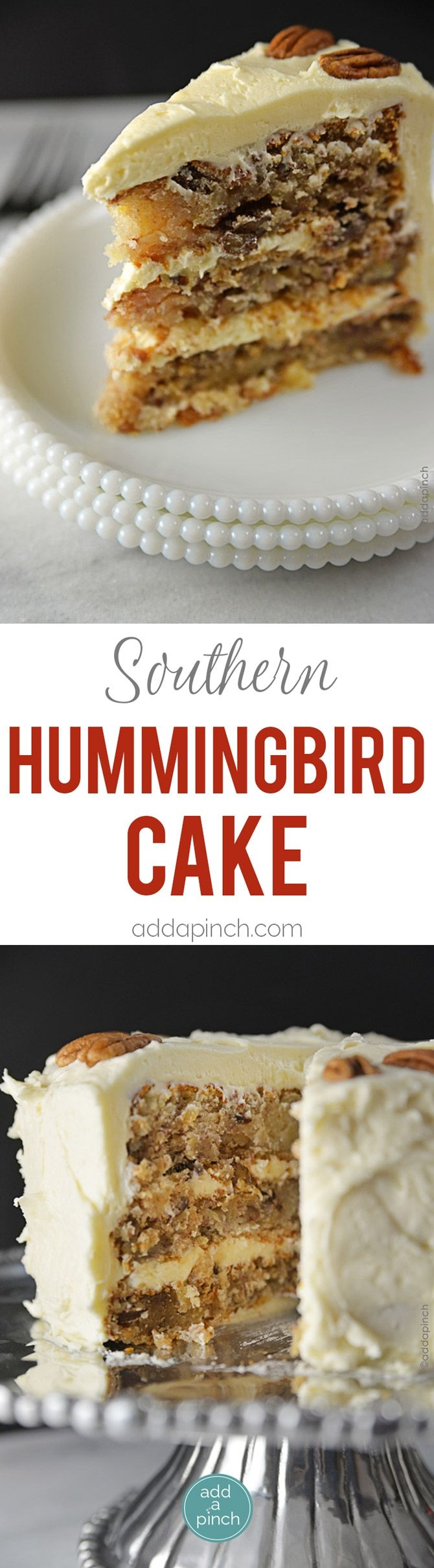 Hummingbird Cake Recipe - Hummingbird Cake is a classic, Southern cake recipe perfect for serving at so many special occasions or when entertaining. Get this heirloom Hummingbird Cake recipe for your next event. // addapinch.com #cupcake #confectionery