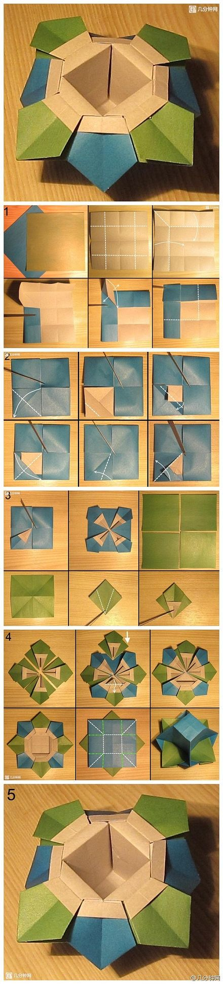 Origami dish.  Photo instructions.