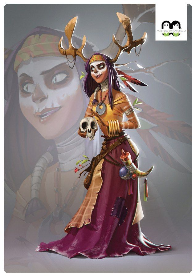 human female druid gypsie witch forest shack wood oracle facepaint tribal character concept Мои закладки
