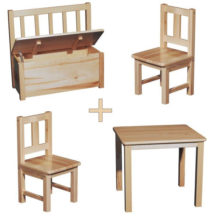 Kindersitzgruppe Klarlack lackiert Holz 1x Kindertisch mit 2x K kaufen