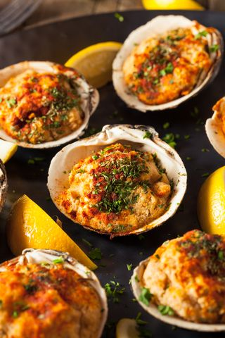 Baked Clams Oreganata New England Style----I use Matlaw's store bought new England stuffed clams when time is a concern