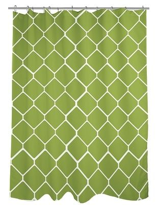 39% OFF One Bella Casa Fence Shower Curtain, Green/Ivory