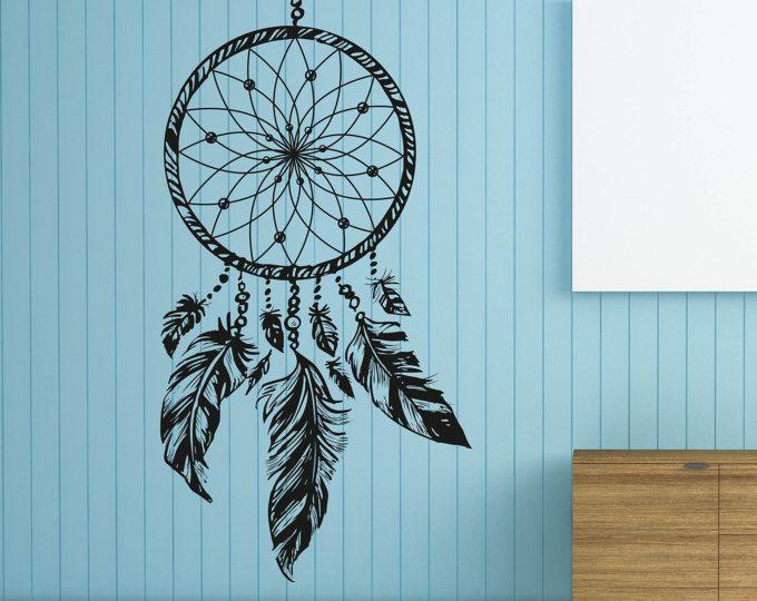 Dreamcatcher mural sticker Native America plumes Hippie Bohème plume Dreamcatcher chambre dortoir muraux plumes Wall Decal ET065