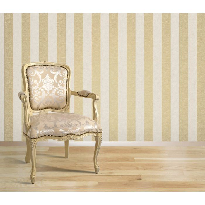 Gold and cream striped wallpaper decor view all for Cream and gold bathroom accessories