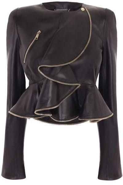 Alexander McQueen   Zip Wave Ruffle Leather Jacket  Dressmesweetiedarling
