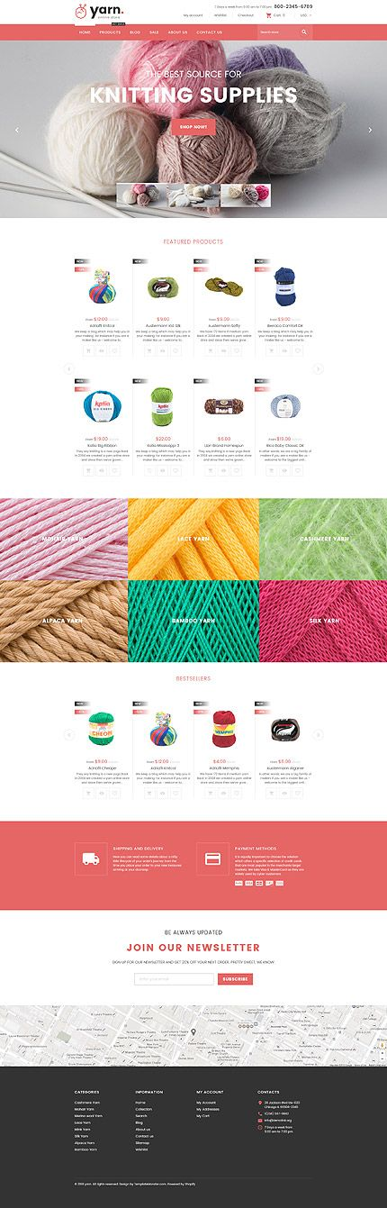 Yarn Online Store #Shopify #template. #themes #business #responsive #webshop #Shopifythemes