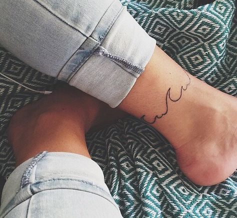 wave ankle bracelet tattoo