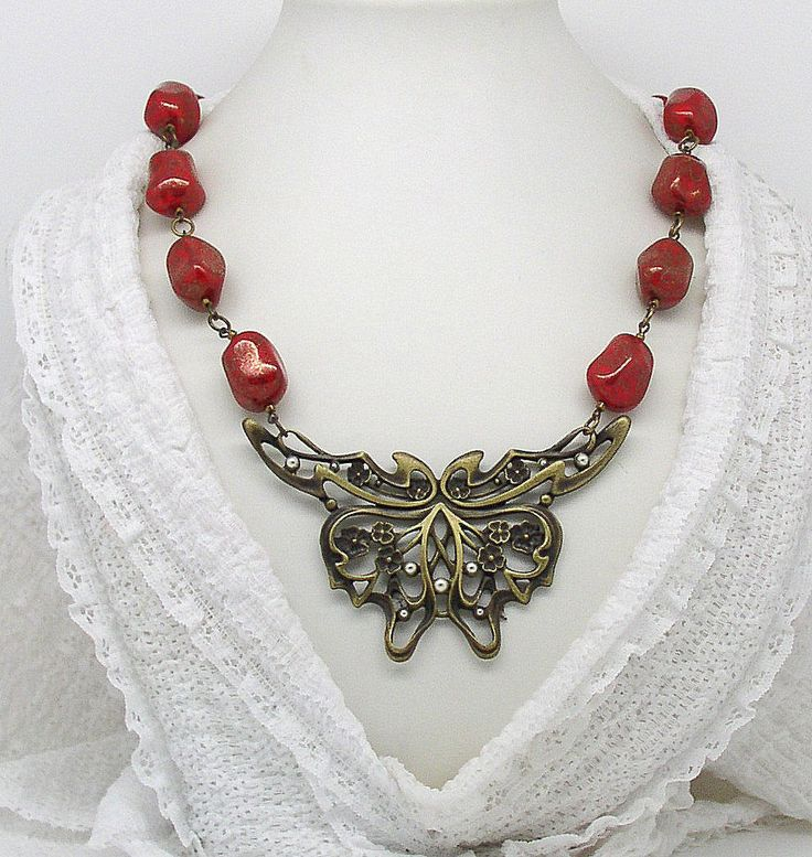 NECK 11 Fantastic necklace secession style butterfly by ClassOfGlass on Etsy