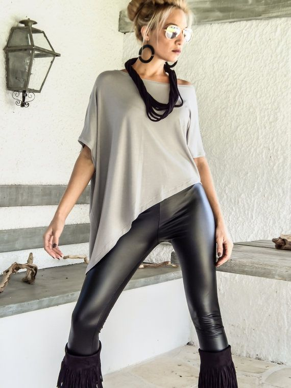 Silver Gray Asymmetric Top Blouse / Gray Loose Top Blouse / Asymmetric Plus Size Blouse / #35131   NEW ASYMMETRIC TOPS - BLOUSES 2015 !  They are