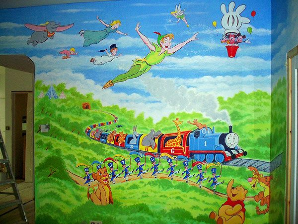 Disney Wall Murals, Childrens Wall Murals, Mural Wall, Mural Ideas, London  Wall, Wall Paintings, Playrooms Part 73