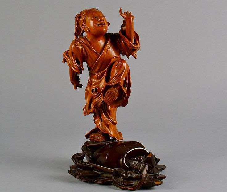 Antique chinese boxwood carving wood statue pinterest