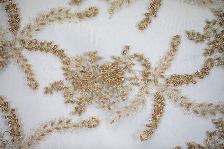 Beaded Coral Lace Fabric By The Yard Wholesale