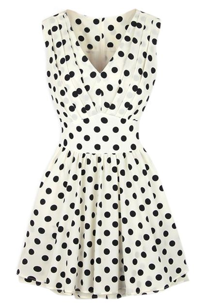 ROMWE V-neck Polka Dots Print Pleated White Dress