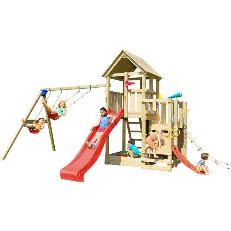 Großer Spaß für viele Altersstufen - Spielturm mit Schaukel, 2 Rutschen, Kletternetz und Kletterwand Der  Spielturm PENTHOUSE  bietet mit vielen verschiedenen Spielgeräten Abwechslung und viele Möglichkeiten zum ausgelassenen Spielen...
